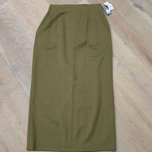 Rafaella olive green wool modest maxi skirt 6 long